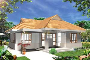 bungalow with spacious living room and two bathrooms. The house